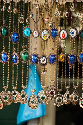 Hand-made silver or metal accessories in a bazaar