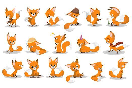 Cute cartoon red fox set