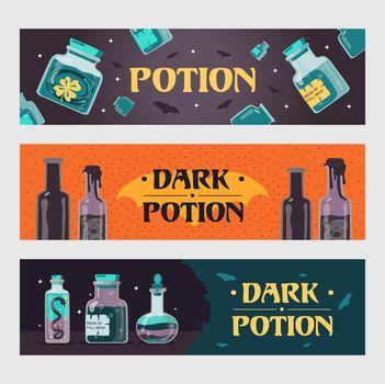 Dark potion banners set