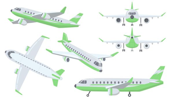Different views of airplane set