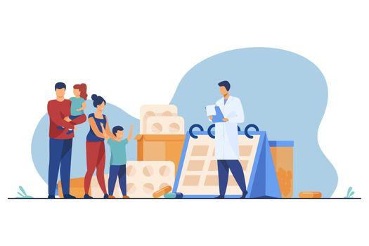 Doctor prescribing drug to happy family