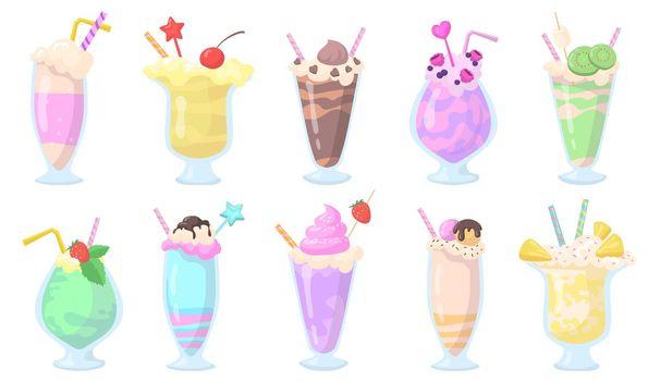 Exotic milkshakes in glasses with straws flat item set