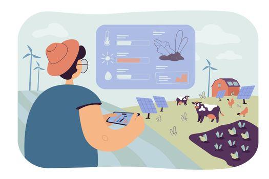 Farmer analyzing data on eco farming