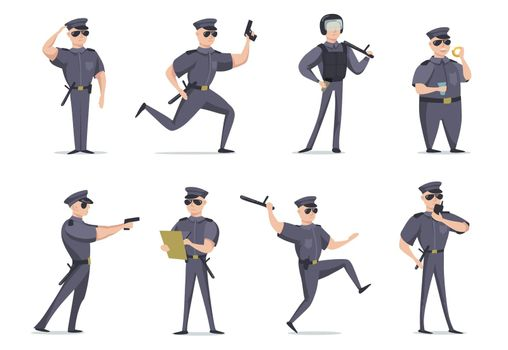 Funny American policeman in different poses