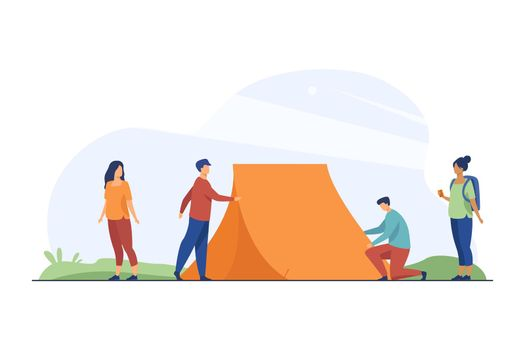 Guys putting up tent on nature and women watching