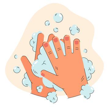 Human hands in soap foam