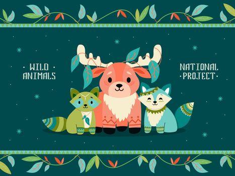 Cover design with boho animals