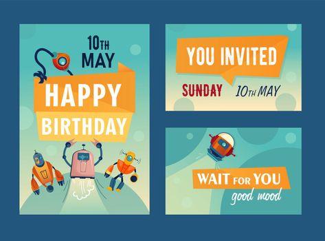 Invitation cards set with cartoon robots