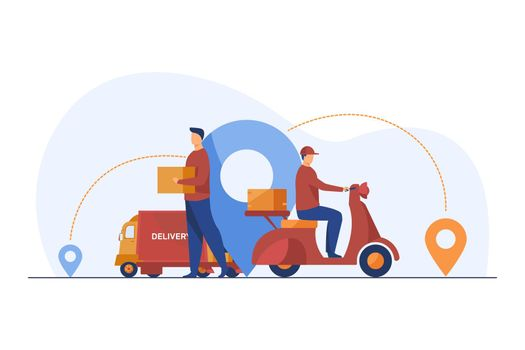 Male couriers delivering parcels