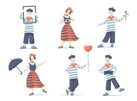 Mimes cartoon characters set
