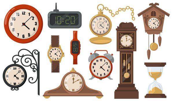 Modern or retro mechanical and electronic clocks flat item set