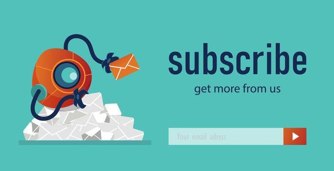 Newsletter design with cartoon robot
