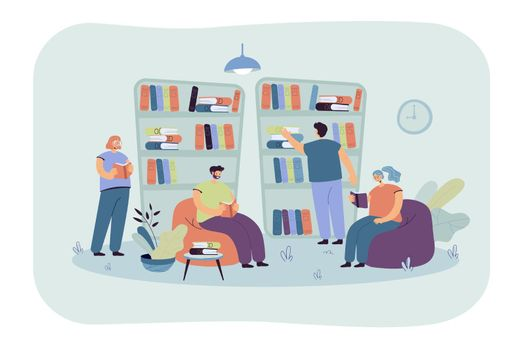 People sitting at bookshelves and reading books in bookstore