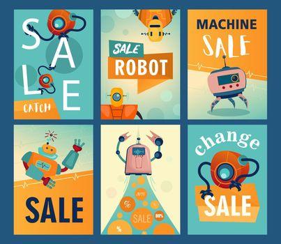 Sale flyers set with cartoon robots