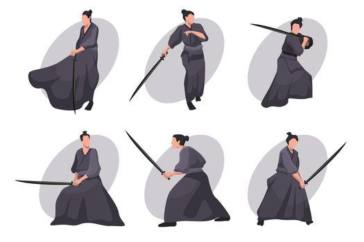 Samurai cartoon character set