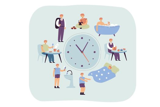 School kids daily schedule according to clock