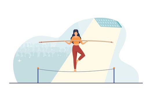 Show actress balancing on rope