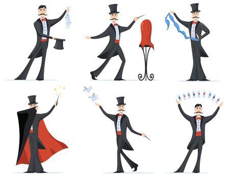 Stylish magician showing magic tricks flat set for web design