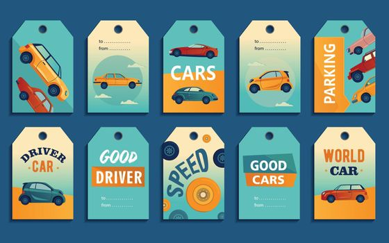 Special tag designs with retro and modern automobiles