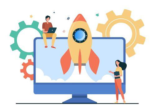 Tiny character launching startup rocket