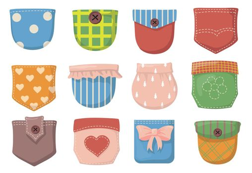 Variety of colorful patch pockets flat item set