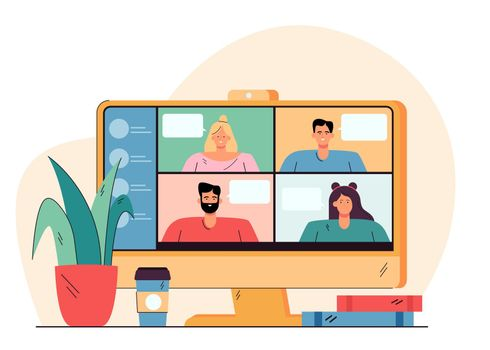 Videoconference with happy people on desktop