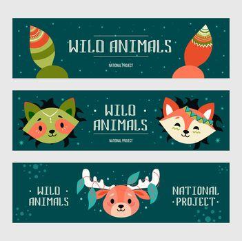 Wild animals banners set