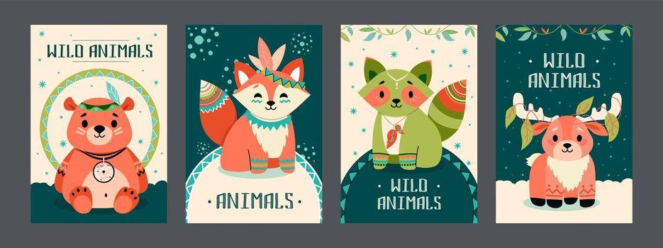 Wild animals posters set