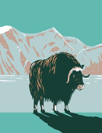 WPA poster art of the muskox or musk ox in winter in the Cape Krusenstern National Monument in northwestern Alaska, United States in works project administration or Federal Art Project style.