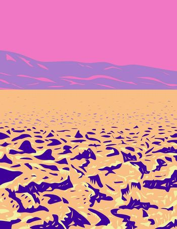 WPA poster art of spiky salt mounds known as the Devil's Golf Course in Death Valley National Park located in California–Nevada border USA in works project administration or federal art project style.