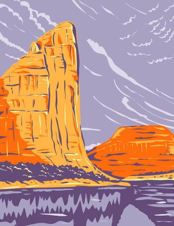 WPA poster art of Dinosaur National Monument on the Uinta Mountains between Colorado and Utah at the confluence of Green and Yampa rivers in works project administration or federal art project style.