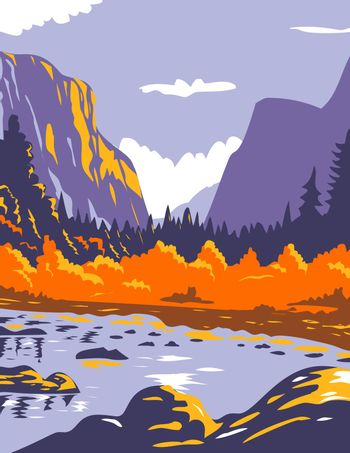 WPA poster art of El Capitan or El Cap during fall in Yosemite National Park Sierra Nevada of Central California United States of America in works project administration or federal art project style.