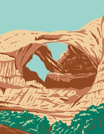 WPA poster art of the Double Arch, a close-set pair of natural arches in Arches National Park in Grand County, Utah,  United States done in works project administration or federal art project style.