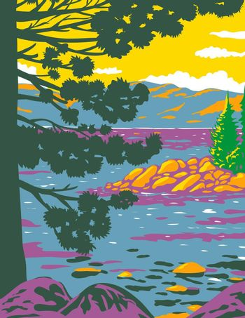 WPA poster art of Emerald Bay, Lake Tahoe, a large freshwater lake in the Sierra Nevada Mountains located in California and Nevada done in works project administration or federal art project style.