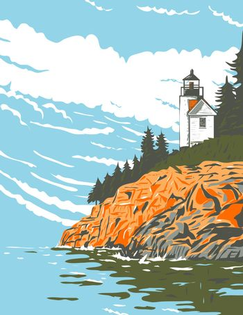 WPA poster art of Mount Desert Island in Hancock County, the largest island off the coast of Maine part of Acadia National Park done in works project or administration federal art project style.