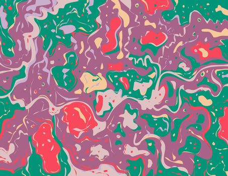 Digital marbling or inkscape illustration of an abstract swirling,psychedelic, liquid marble and simulated marbling in the style of Suminagashi Kintsugi marbled effect in color