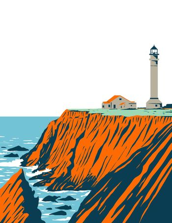 WPA poster art of the Point Arena Lighthouse in Mendocino County located in California Coastal National Monument coast of California done in works project administration or Federal Art Project style.