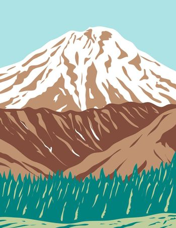 WPA poster art of the Redoubt Volcano or Mount Redoubt, an active stratovolcano in the largely volcanic Aleutian Range of  Alaska done in works project administration or federal art project style.