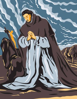 WPA Poster Art Interpretation of El Greco Domenikos Theotokopoulos Artwork, Saint Dominic in Prayer Circa 1605, 16th Century Spanish Renaissance Artist in Works Project Administration Style.