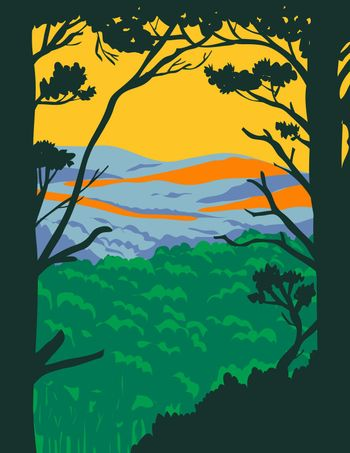 WPA poster art of the Ouachita Mountains or Ouachitas, a mountain range in Arkansas and Oklahoma within the Hot Springs National Park done in works project or administration federal art project style.