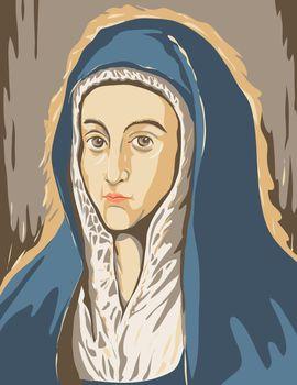 WPA poster art interpretation of El Greco Domenikos Theotokopoulos artwork, Virgin Mary or Mater Dolorosa circa 1597, 16th century Spanish Renaissance artist in works project administration style.