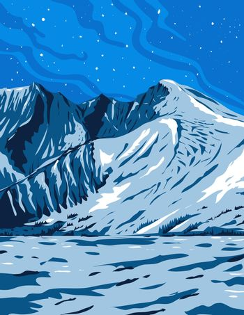 WPA poster art of Wheeler Peak, the tallest mountain in the Snake Range and White Pine County within Great Basin National Park Nevada done in works project or administration federal art project style.