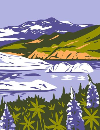 Wrangell-St. Elias National Park and Preserve with Purple Lupins in Nizina Lake in Alaska WPA Poster Art