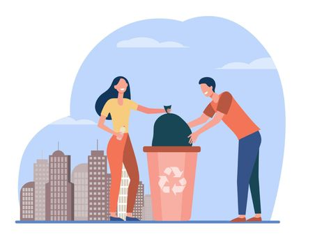 Couple of volunteers collecting garbage