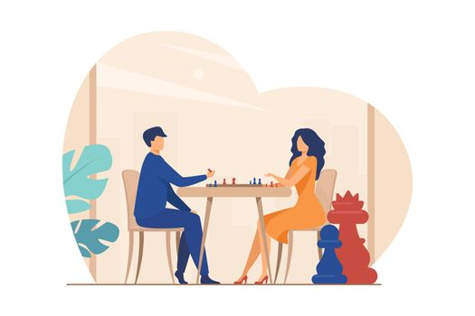 Couple playing chess