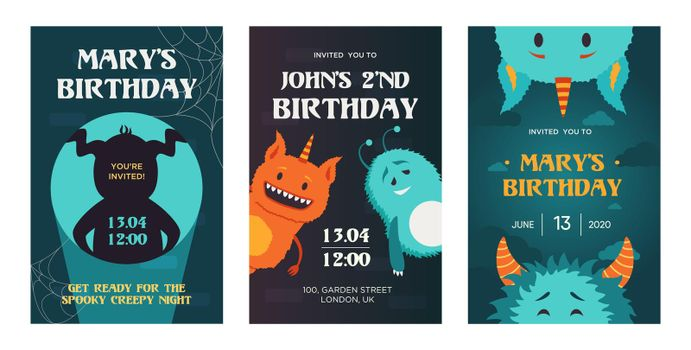 Creative birthday invitation designs with cute monsters