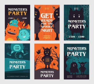 Creepy monster party invitation designs with beasts
