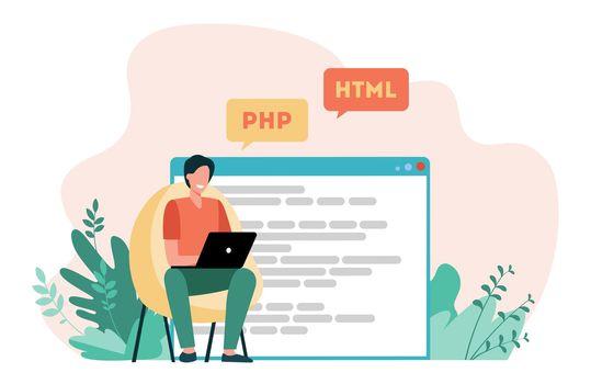 Developer writing code for website
