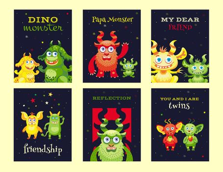 Creative leaflet designs with friendly monsters