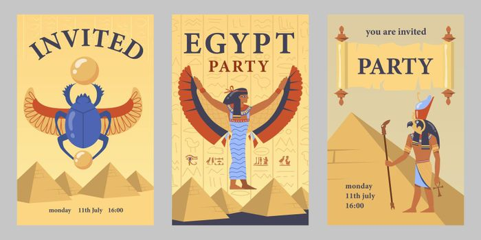 Egyptian party invitation card template set